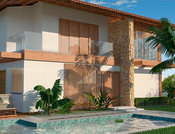 casa rustica - projeto rustico - piscina e área gourmet